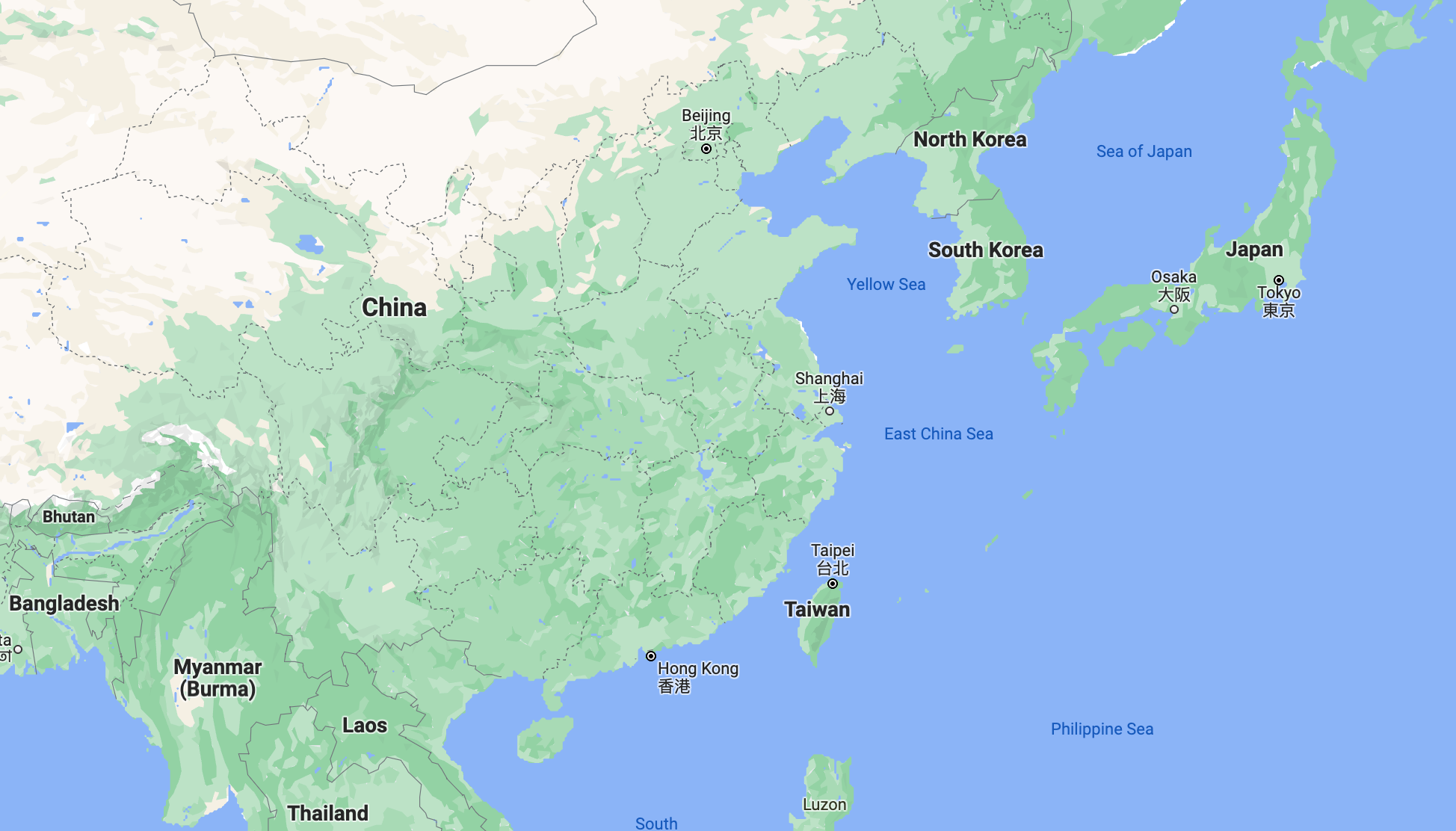 Google maps: A map of the region, featuring Taiwan, China, South Korea, North Korea and Japan.